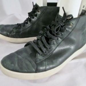 COLE HAAN GRAND.OS Leather Sneaker Hi-Top Black